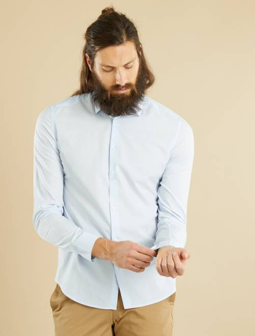 Chemise fitted en popeline rayée                                                                                                                             bleu ciel/blanc rayures Homme
