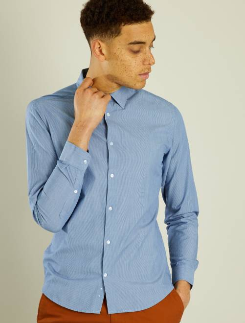 Chemise fitted en popeline rayée                                                                                                                 bleu/blanc rayures Homme