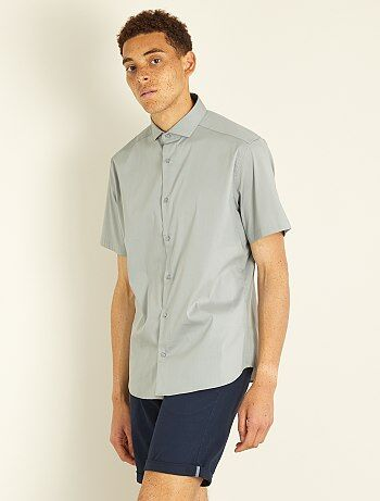 Chemise fitted en popeline stretch - Kiabi