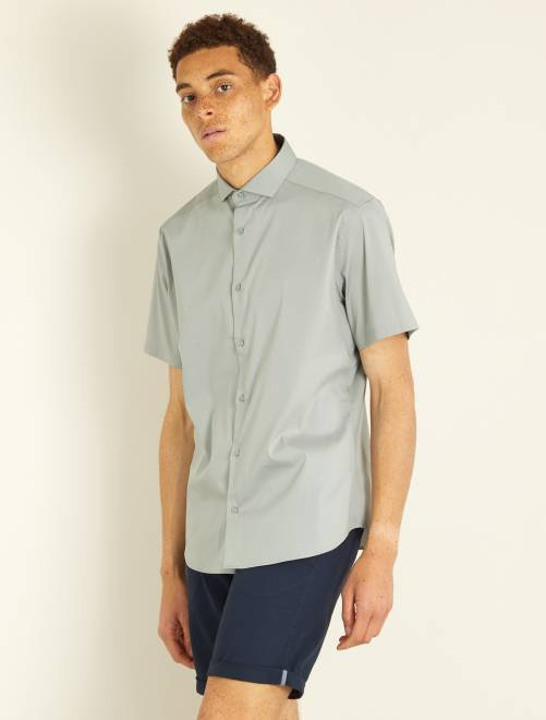 Chemise fitted en popeline stretch                                                     gris Homme