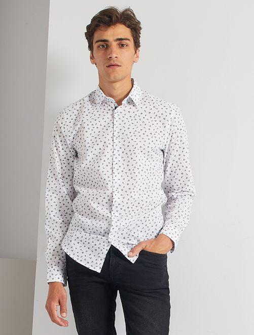 Chemise fitted en popeline à pois                                                         blanc/noir