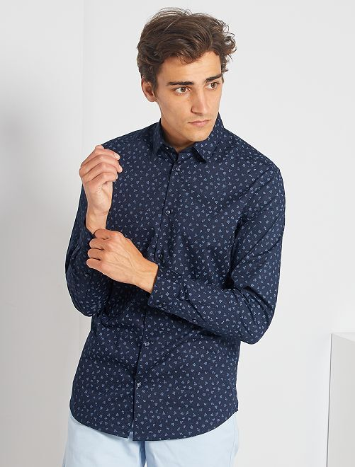 Chemise fitted micro motif                                                                             marine/bleu