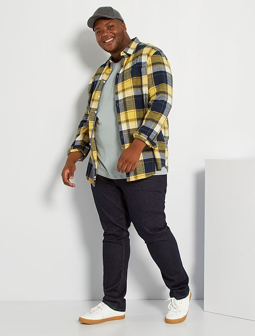 Chemise flanelle à carreaux                             bleu marine/jaune