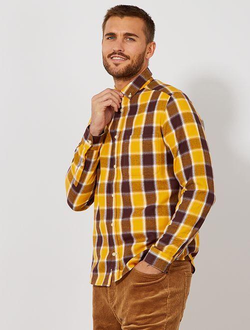 Chemise flanelle à carreaux                                         carreaux jaune/brun Homme