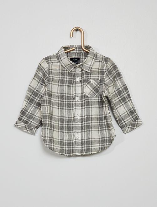 Chemise flanelle à carreaux                             gris chiné