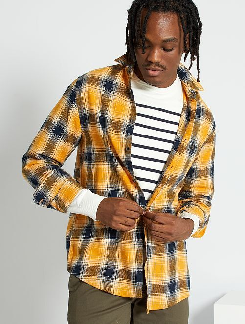 Chemise flanelle à carreaux                     jaune/marine