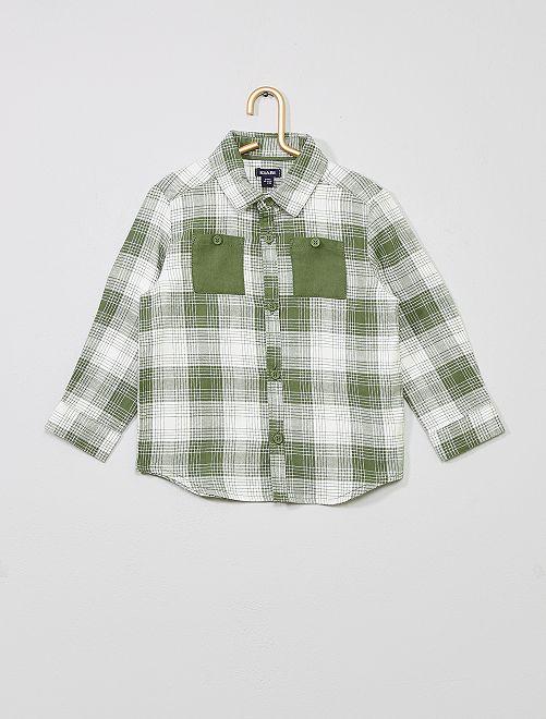 Chemise flanelle à carreaux                             kaki
