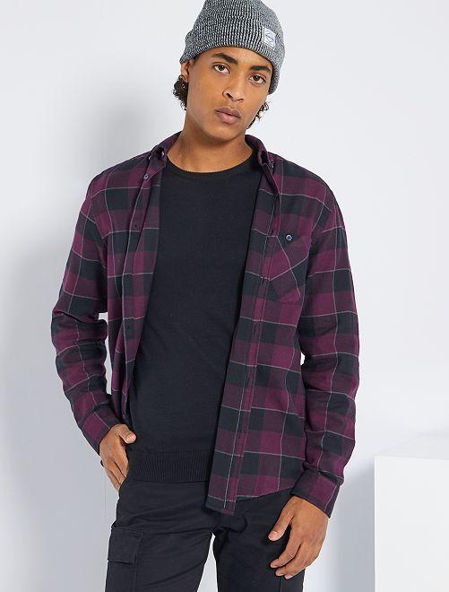 Chemise flanelle à carreaux                                         violet/noir