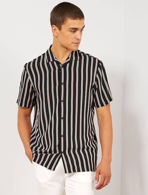 Chemise fluide à rayures                             rayé noir Homme
