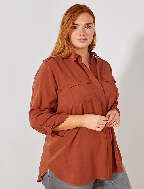Chemise fluide avec poches                                         rouge ocre Grande taille femme
