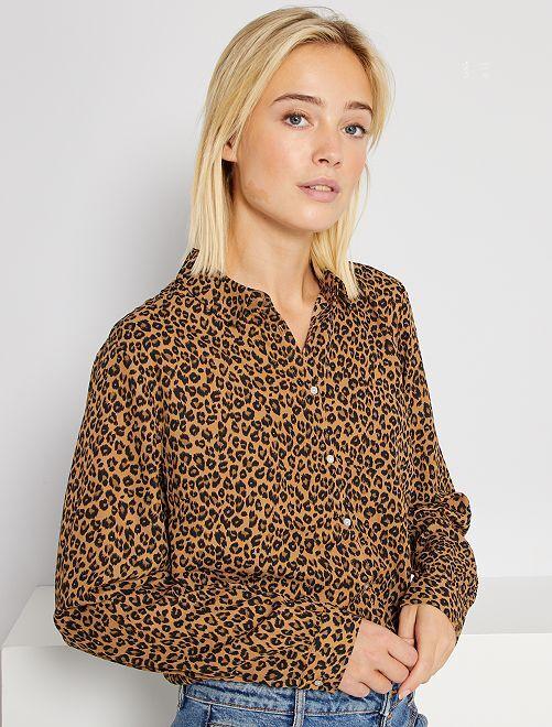 Chemise fluide                                                                                                                                         marron léopard