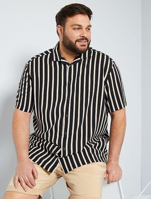 chemise fluide rayée                             noir/beige
