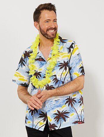 Embarquez pour Honolulu en toute décontraction ! - Chemise Hawaienne manches courtes - Ouverture boutonnée devant - Imprimé palmiers