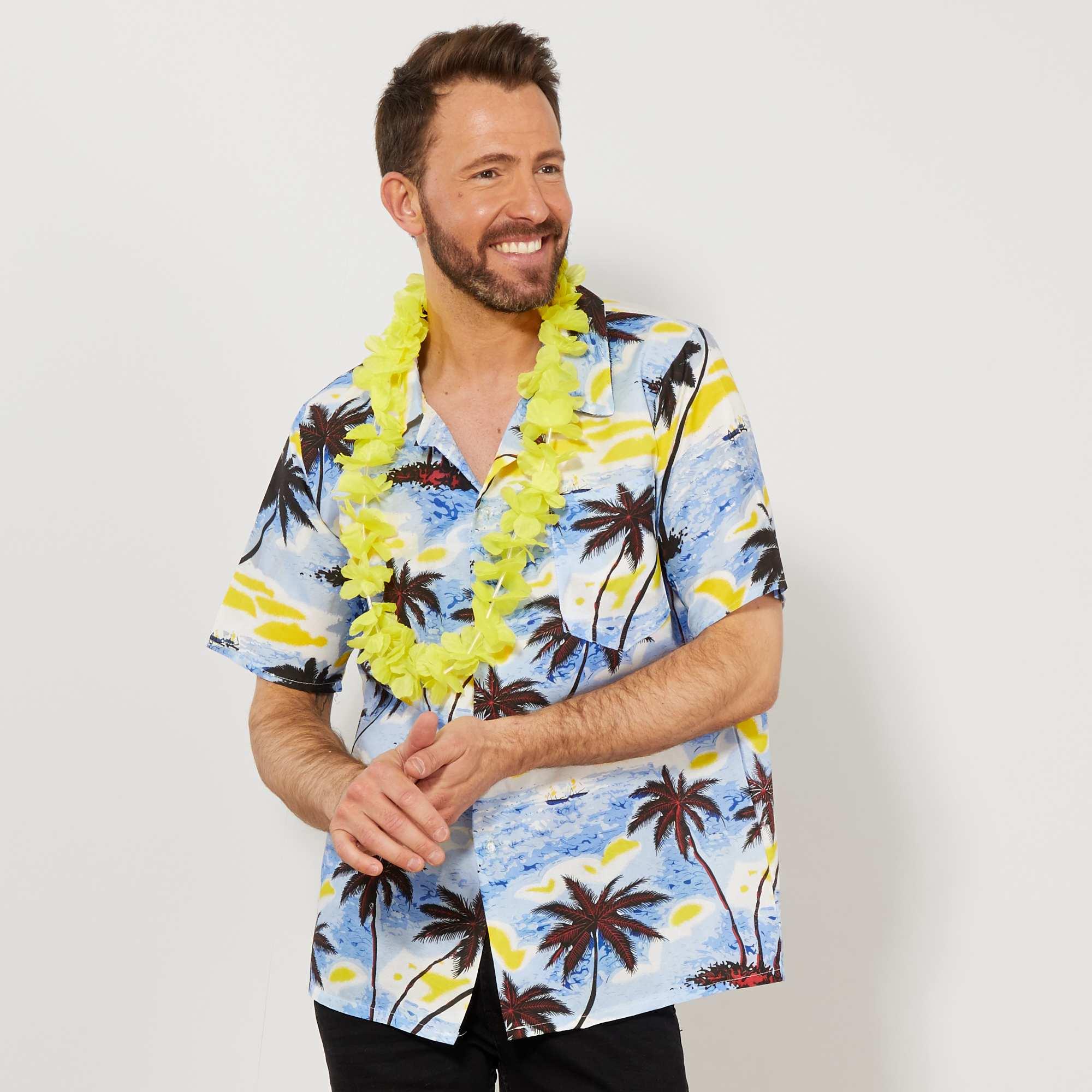Couleur : bleu, , ,, - Taille : M/L, , ,,Embarquez pour Honolulu en toute décontraction ! - Chemise Hawaienne manches courtes -