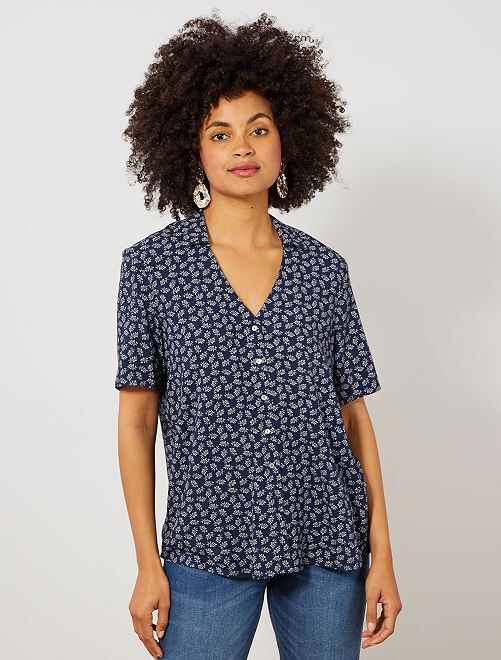 Chemise imprimée coupe droite                                                                 bleu marine Femme