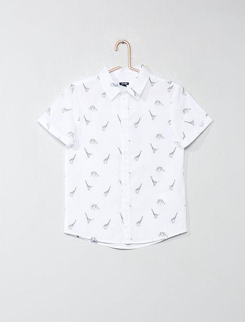 Chemise imprimée en popeline                                         blanc/girafe