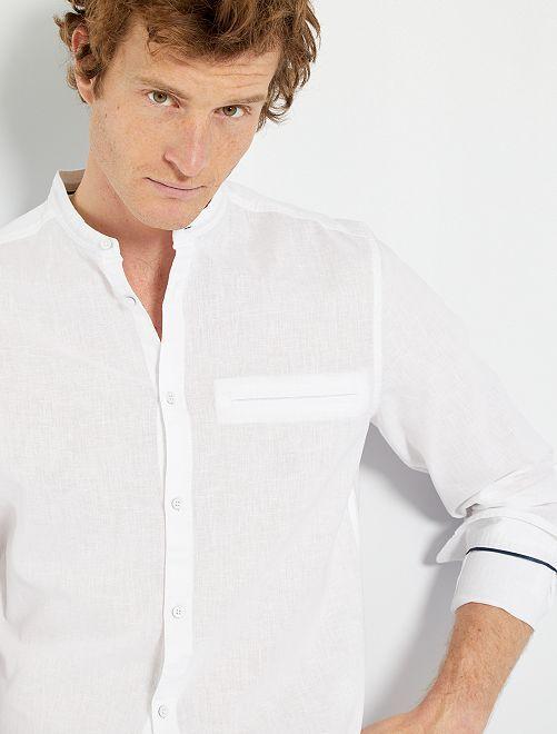 Chemise lin & coton                                                     blanc
