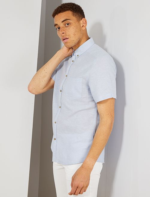 Chemise lin et coton                                 bleu clair