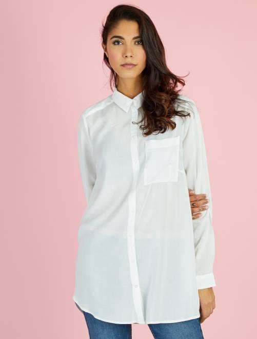 Chemise longue en viscose                                 blanc cassé Femme