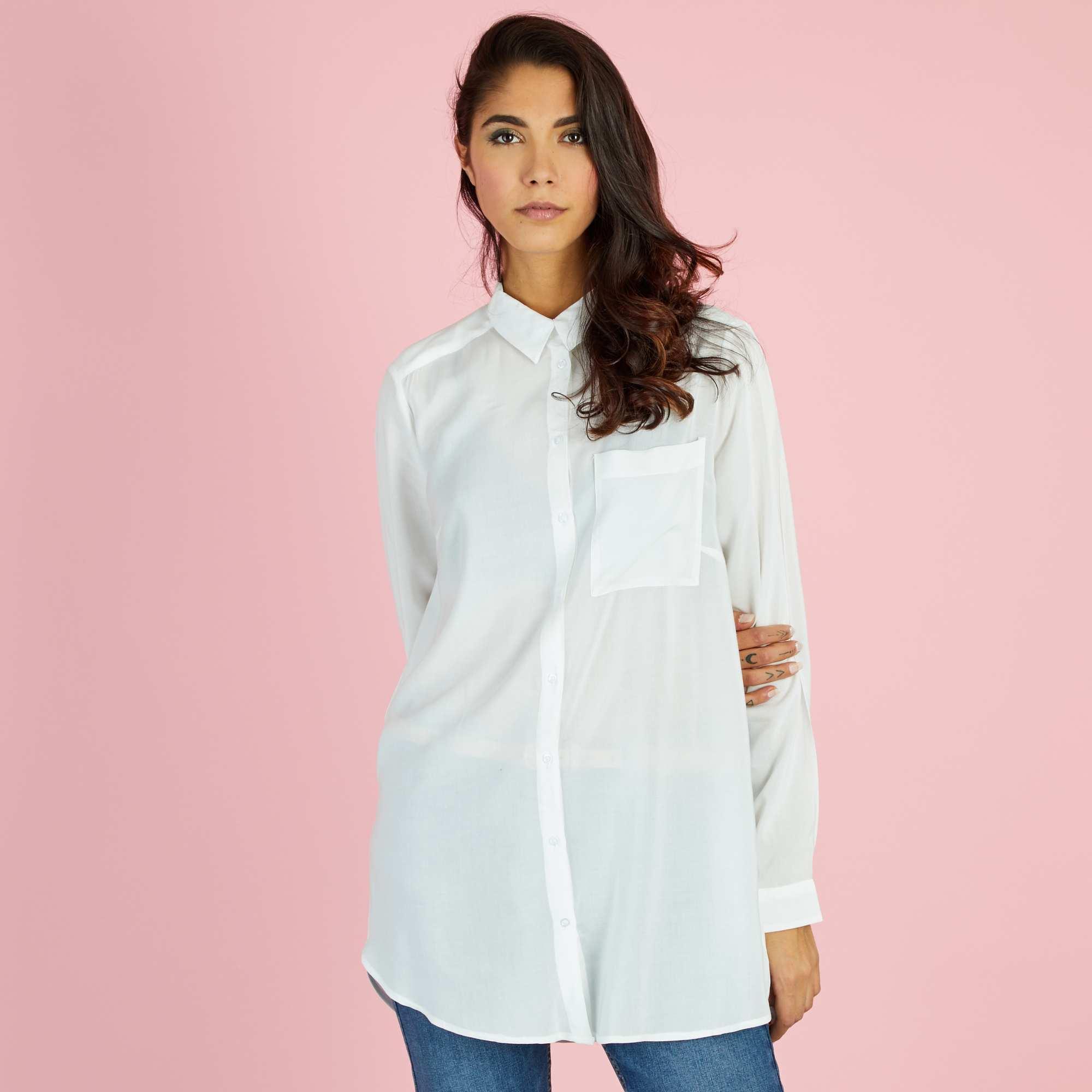 chemise longue en viscose femme blanc cass kiabi 15 00. Black Bedroom Furniture Sets. Home Design Ideas