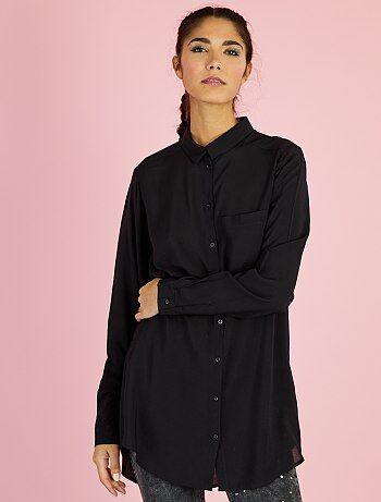 Chemise longue en viscose                                                                             noir Femme