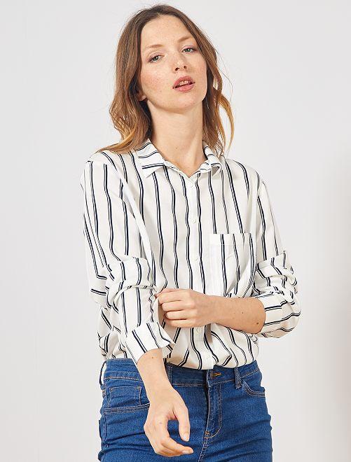 Chemise longueur tunique                                                                             blanc/bleu rayé