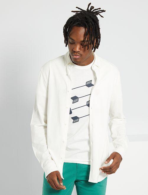 Chemise maille piquée                                         blanc