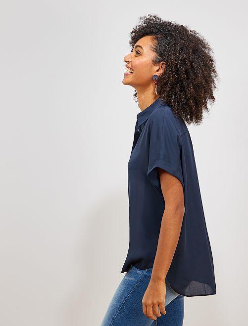 Chemise manches courtes éco-conçue                                                                                                                                                     bleu marine