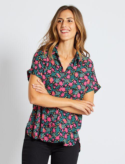 Chemise manches courtes éco-conçue                                                                                                                                                     noir fleuri