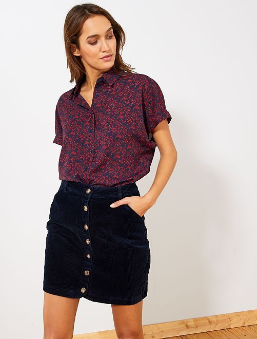 Chemise manches courtes éco-conçue                                                                                                                 rouge bleu marine