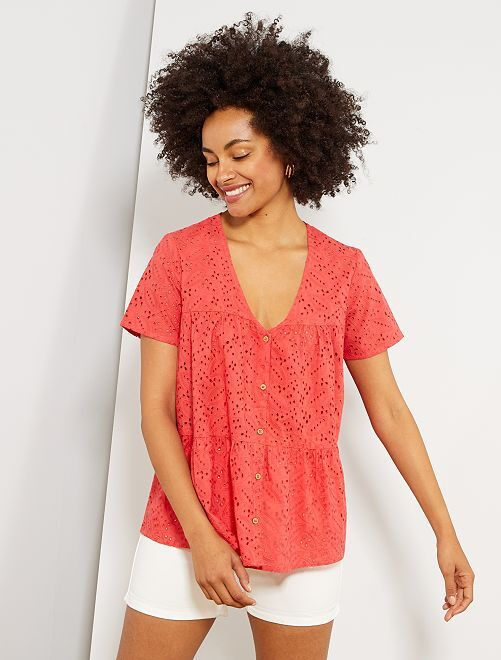 Chemise manches courtes en broderie anglaise                                         rouge corail Femme
