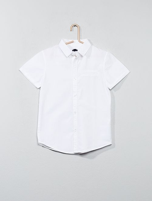 Chemise manches courtes en popeline de coton                                         blanc