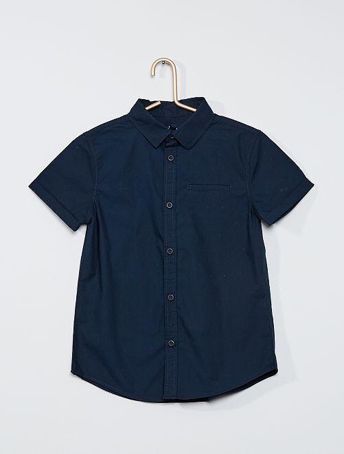 Chemise manches courtes en popeline de coton                                                     bleu marine