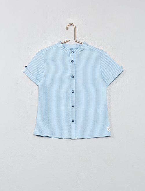 Chemise manches courtes seersucker                             bleu Garçon