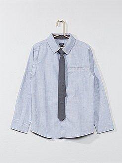 Chemise - Chemise manches longues + cravate - Kiabi