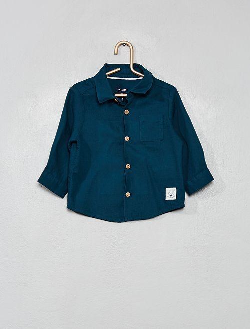 Chemise manches longues unie                                         bleu