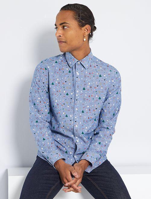 Chemise motifs Noël                     bleu chambray
