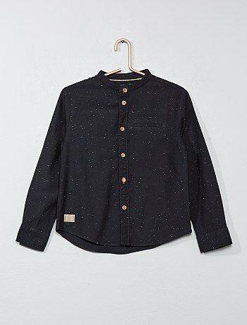 Chemise mouchetée col mao - Kiabi