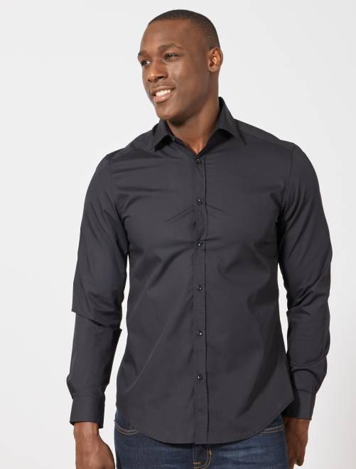 Chemise noire unie coupe droite                                         noir