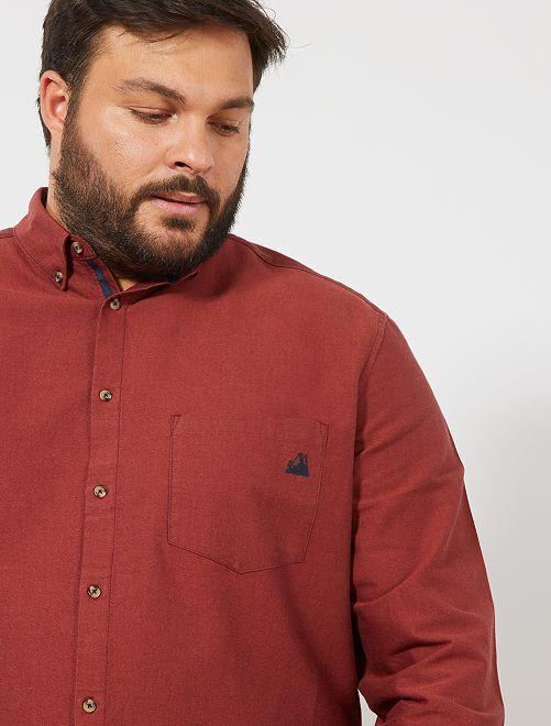 Chemise oxford poche brodée                                                                 rouge brique Grande taille homme