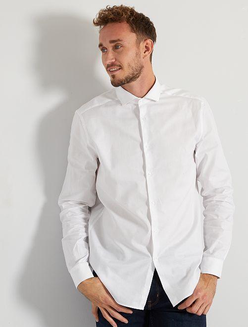 Chemise piqué de coton +1m90                                         blanc