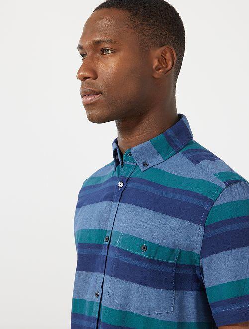 Chemise rayée en coton                                         bleu/bleu gris
