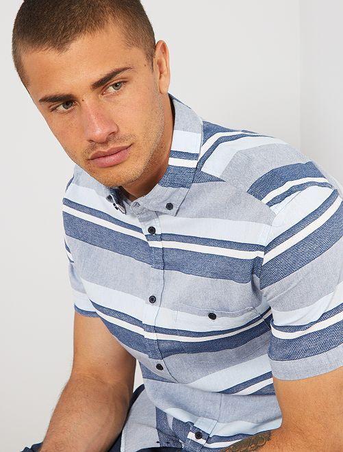 Chemise rayée en coton                                         bleu/vert Homme