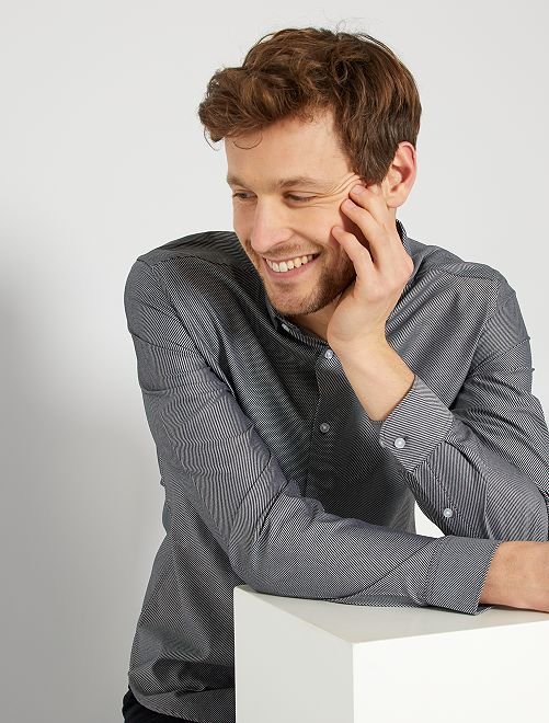 Chemise rayée en coton                                         noir