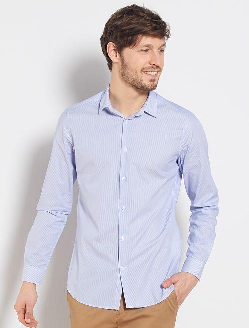 Chemise rayée en popeline                             blanc/bleu