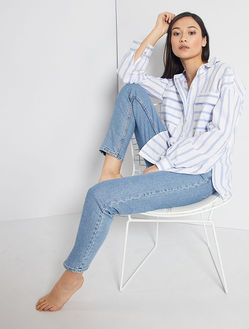 Chemise rayée en pur coton                                         blanc rayé bleu