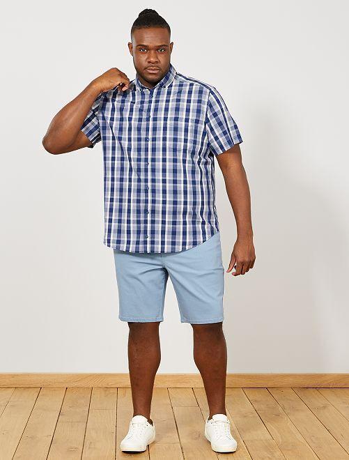 Chemise regular à carreaux                                                                                                     bleu/saumon/blanc