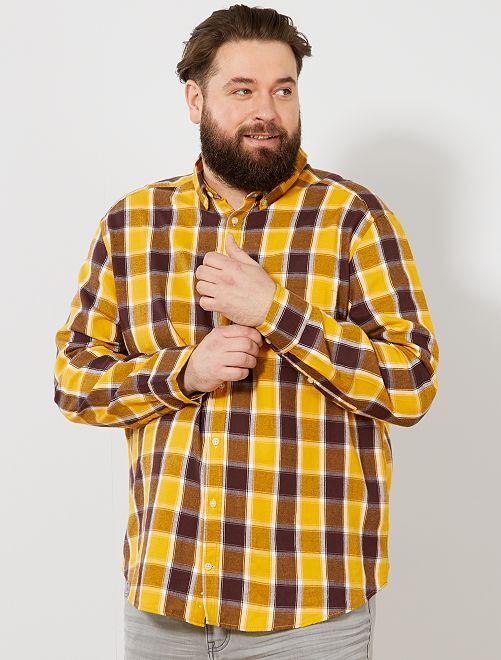 Chemise regular à carreaux                             jaune/marron/blanc Grande taille homme