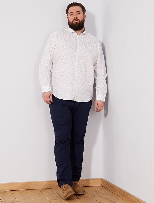 Chemise regular à micro motif                                         blanc Grande taille homme