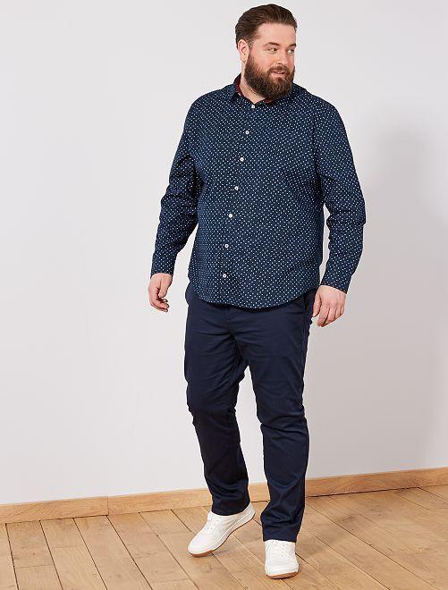Chemise regular à micro motif                                         bleu marine Grande taille homme